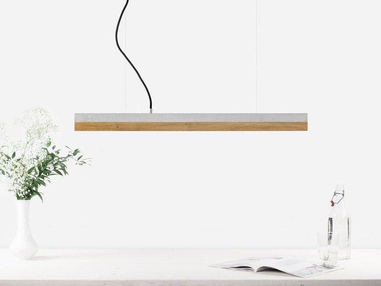Modern Oak and Grey Concrete Pendant Light, Medium Contemporary Table Light For Sale 1
