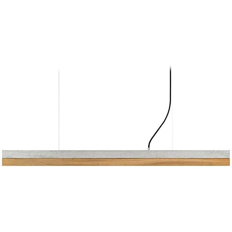 Modern Oak and Grey Concrete Pendant Light, Medium Contemporary Table Light For Sale