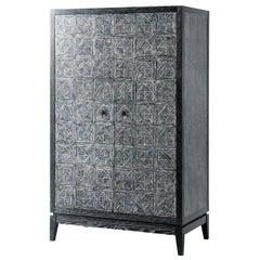 Modern Oak Bar Cabinet