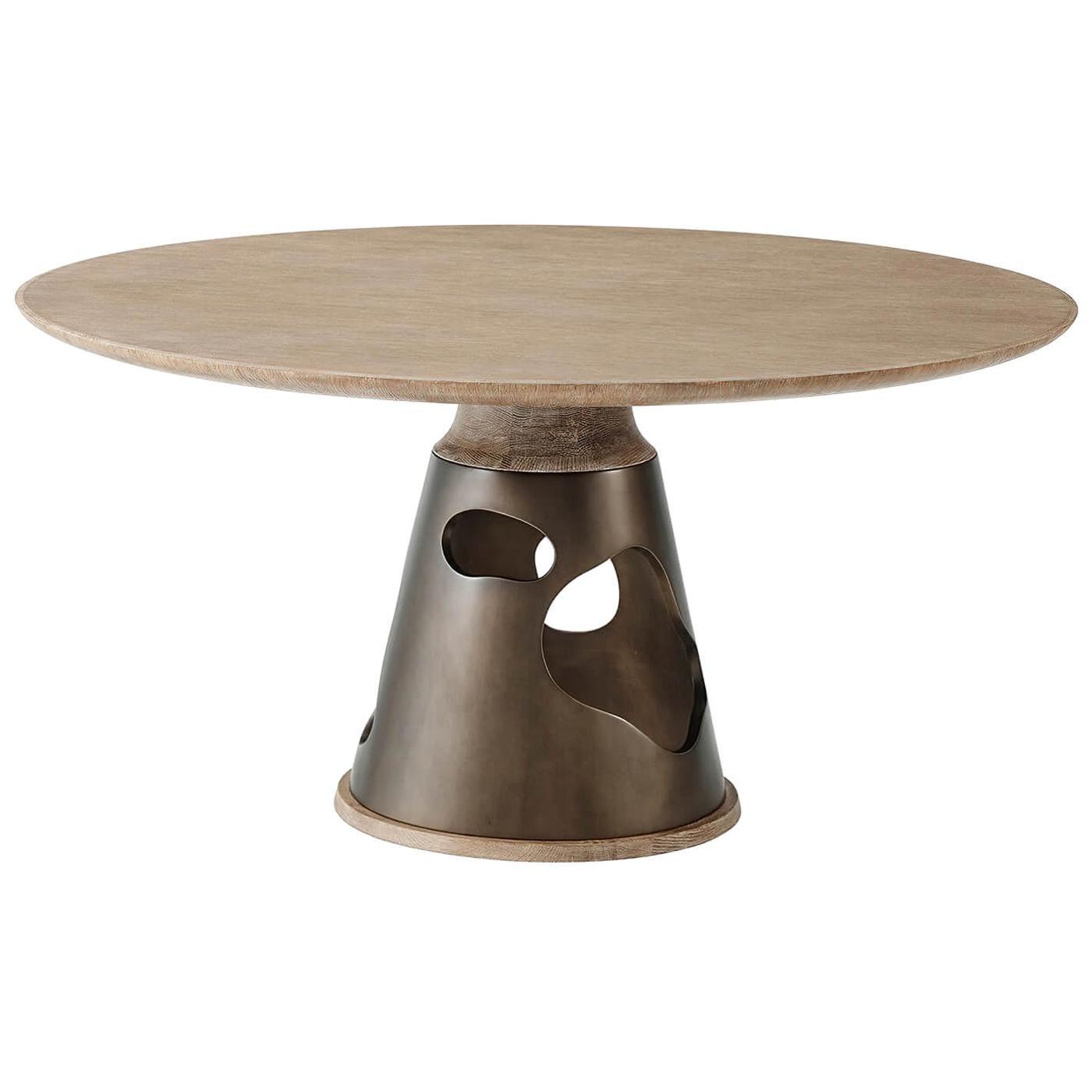 Modern Oak Round Breakfast Table