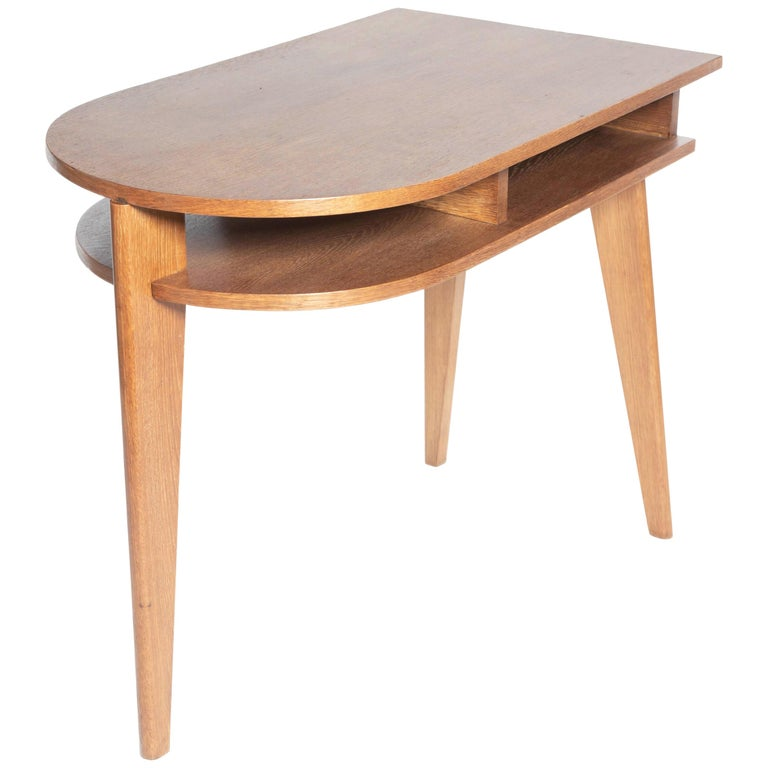 Modern Oak Tripod Desk in the Manner of Jacques Adnet For Sale