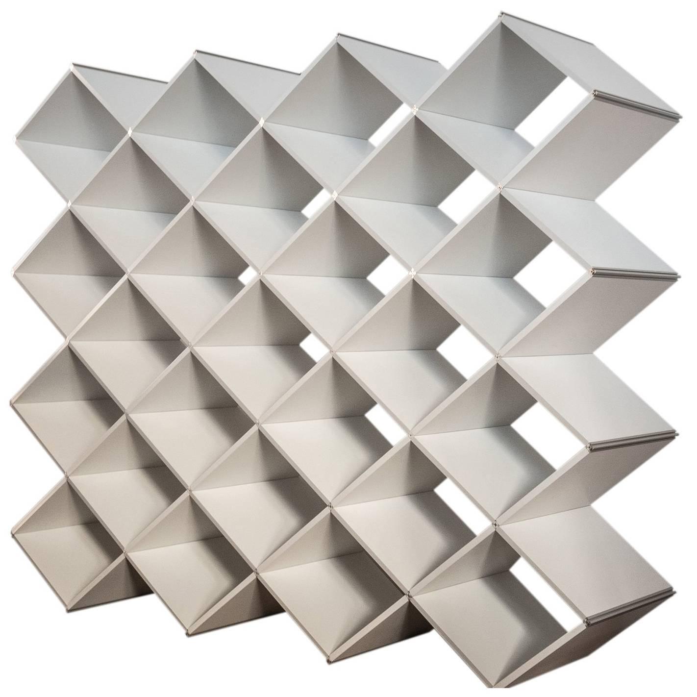 Modern Oblique Bookcase in Geometric Design