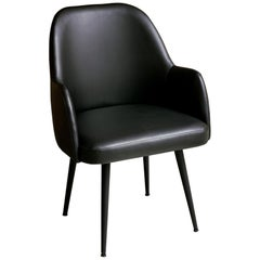 Modern Obsidian Black Faux Leather Fabric Dining Armchair with Steel Base Black