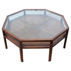Modern Octagon or Round Walnut Coffee Table with Glass Top