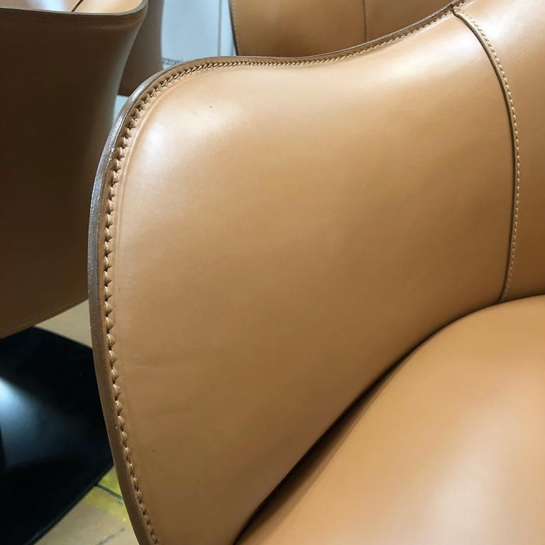 Modern Office Chairs, Made in Italy, Soft Full Grain Leather For Sale 4