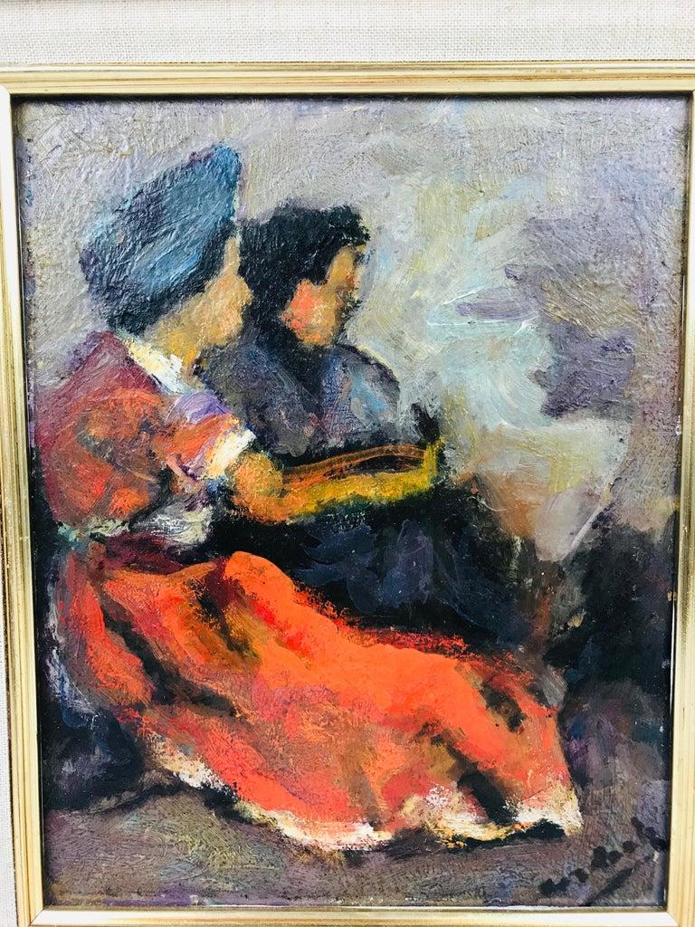 American Modern Oil on Board of Two Women by Listed Artist John Cordich For Sale