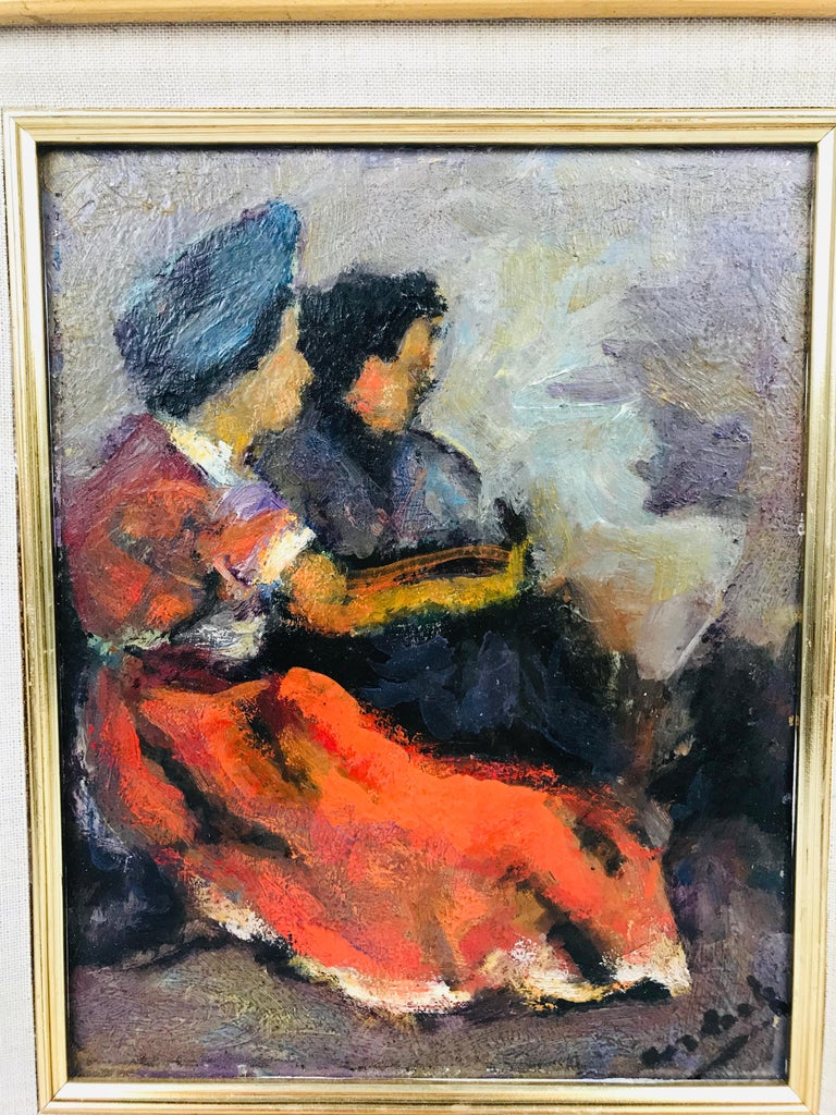 Painted Modern Oil on Board of Two Women by Listed Artist John Cordich For Sale