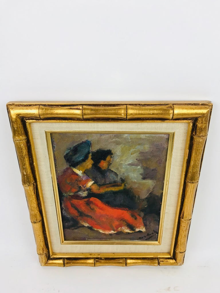 Modern Oil on Board of Two Women by Listed Artist John Cordich In Good Condition For Sale In Plymouth, MA