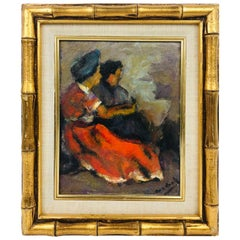 Modern Oil on Board of Two Women by Listed Artist John Cordich