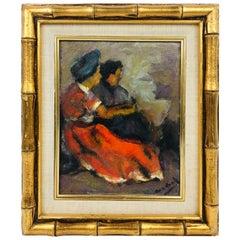 Modern Oil on Board of Two Women by Listed Artist John Cordich