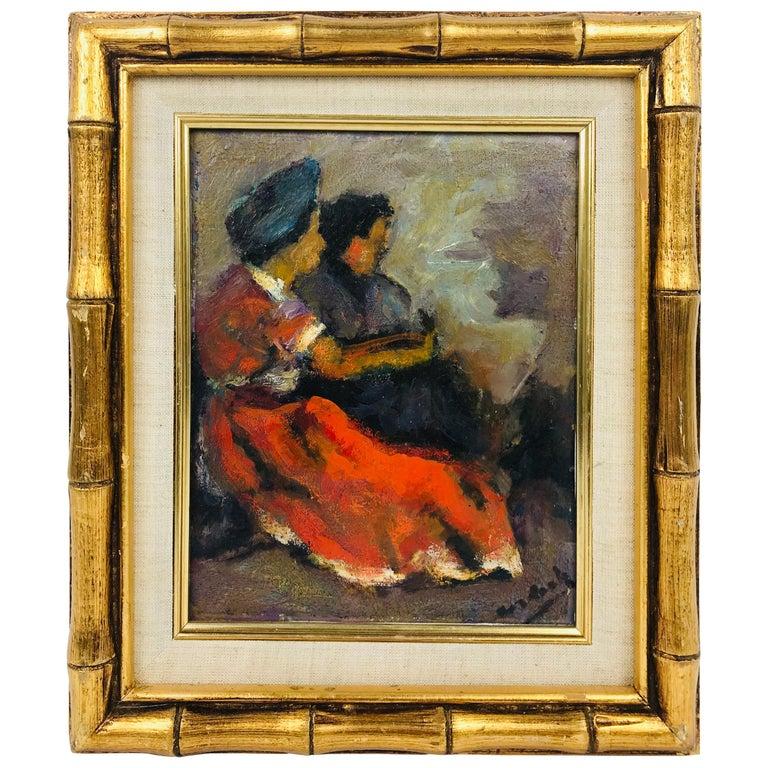 Modern Oil on Board of Two Women by Listed Artist John Cordich For Sale