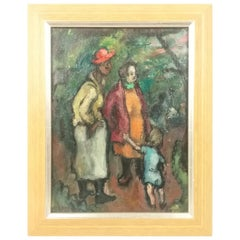 "Modern Oil on Canvas ""Two Women with Child in Park"" by Benjamin Kopman"