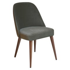 Modern Olive Green Velvet Fabric Dining Chair with Walnut Base