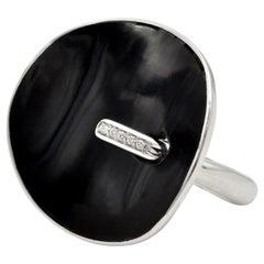 Modern Onyx and Diamond 18 Karat White Gold Ring