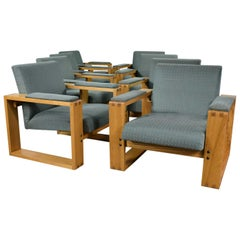 Modern Open Frame Club Chair with Floating Seat and Back in Oak and Fabric