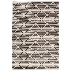 Modern Optical Black and White Striped Flat-Woven Wool Rug