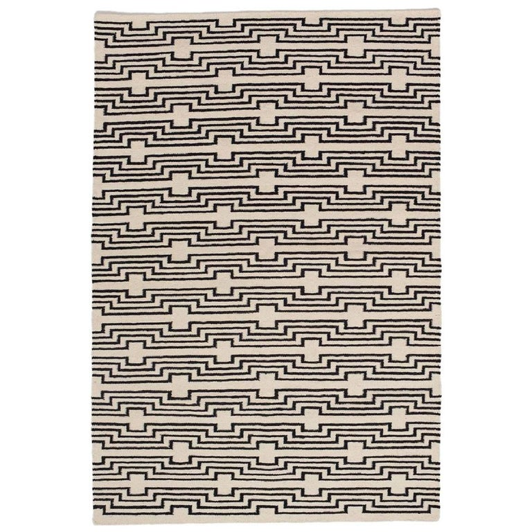 Modern Optical Black And White Striped Flat Woven Wool Rug For Sale