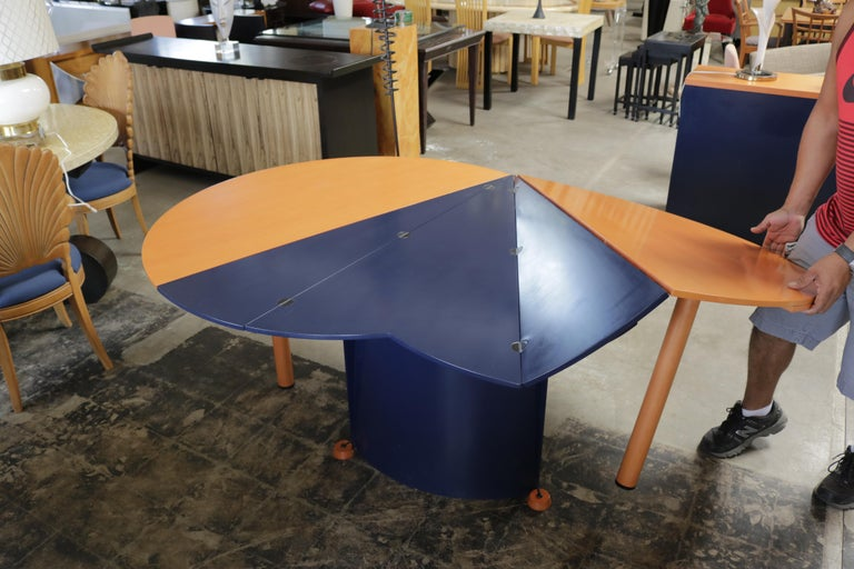 Dutch Modern Orange and Blue Dining Table by Castelijn For Sale