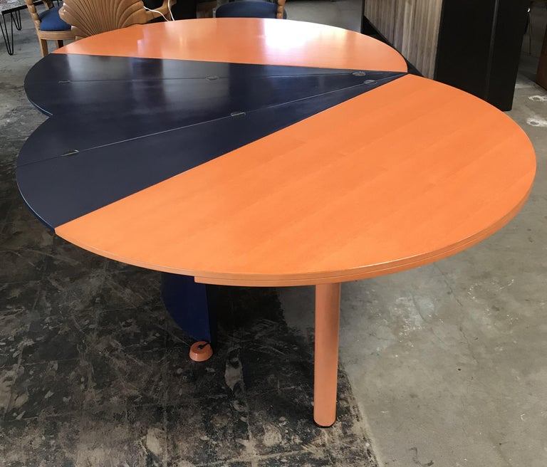 Brushed Modern Orange and Blue Dining Table by Castelijn For Sale