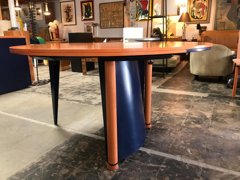 Modern Orange and Blue Dining Table by Castelijn In Good Condition For Sale In Los Angeles, CA