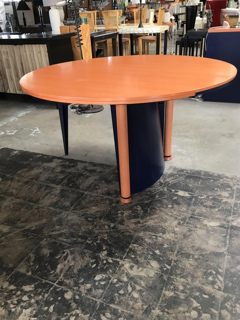Late 20th Century Modern Orange and Blue Dining Table by Castelijn For Sale