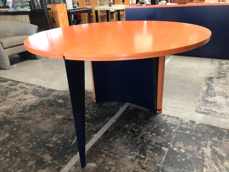 Steel Modern Orange and Blue Dining Table by Castelijn For Sale