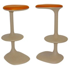 Modern Orange and Brown Pair of Vintage Plastic Stools by Karim Rashid, Italy