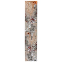 Modern Orange and Gray Handmade Abstract Wool and Silk Runner