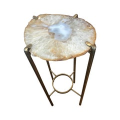 Modern Orange and Smokey White Quartz Tea Table