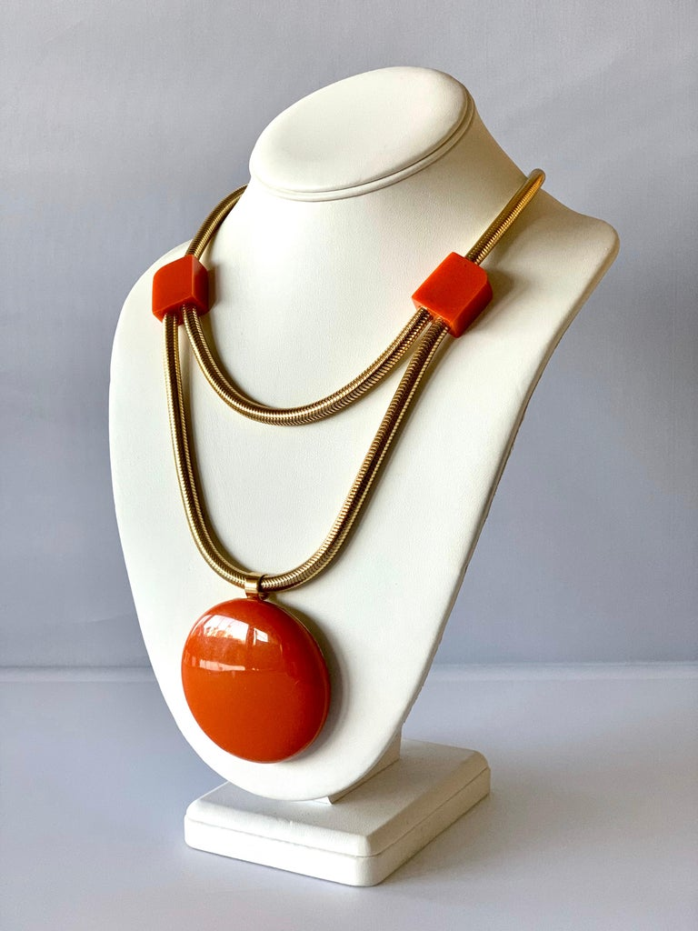 Modern Orange Bakelite Pendant Statement Necklace by Lanvin Paris  In Excellent Condition For Sale In Palm Springs, CA