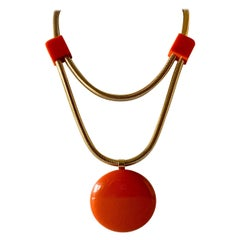 Modern Orange Bakelite Pendant Statement Necklace by Lanvin Paris