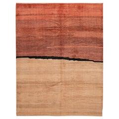 Modern Orange Gabbeh Persian Handmade Wool Rug