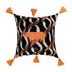 Modern Orange Pig Cushion, Printed Pattern Velvet Pillow Orange Fringes Tassels