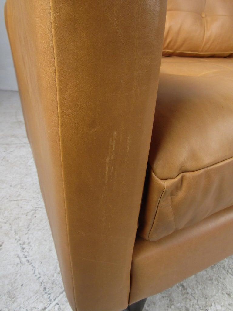 Modern Orange Tufted Leather Sofa For Sale 5