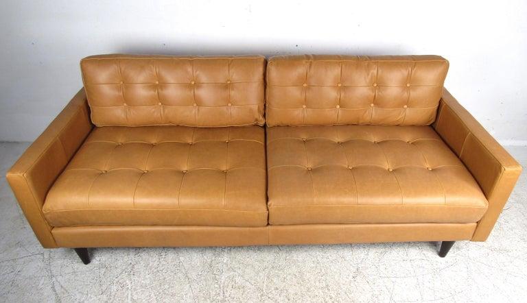 Mid-Century Modern Modern Orange Tufted Leather Sofa For Sale
