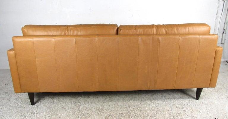 Mid-20th Century Modern Orange Tufted Leather Sofa For Sale