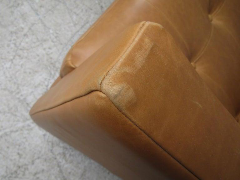 Modern Orange Tufted Leather Sofa For Sale 4