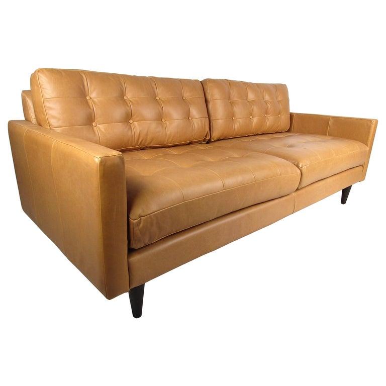 Modern Orange Tufted Leather Sofa For Sale