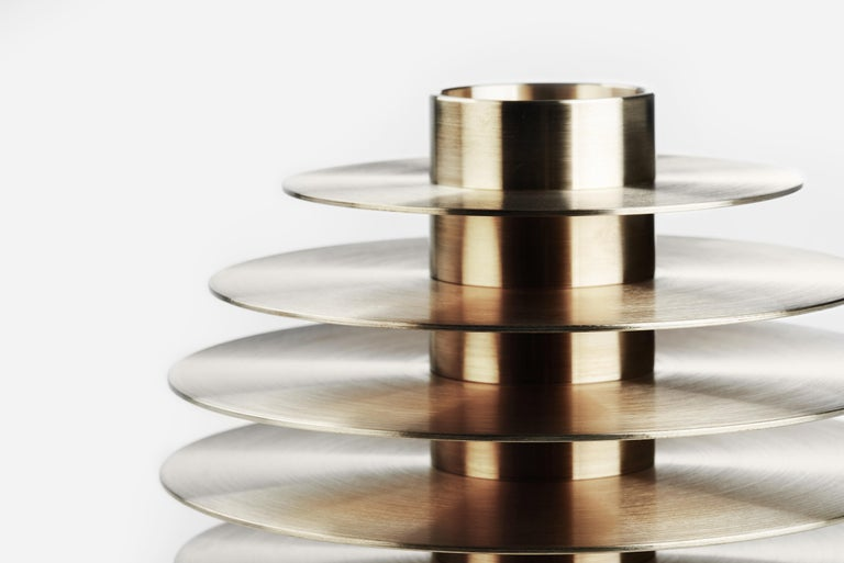 Modern ORB Candleholders Set CS1 by Noom in Brass For Sale 8