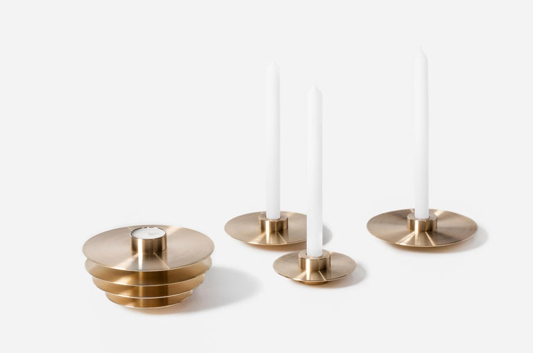 Contemporary Modern ORB Candleholders Set CS1 by Noom in Brass For Sale