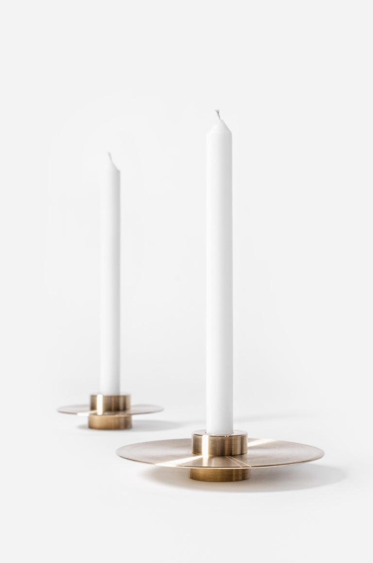 Modern ORB Candleholders Set CS1 by Noom in Brass For Sale 2