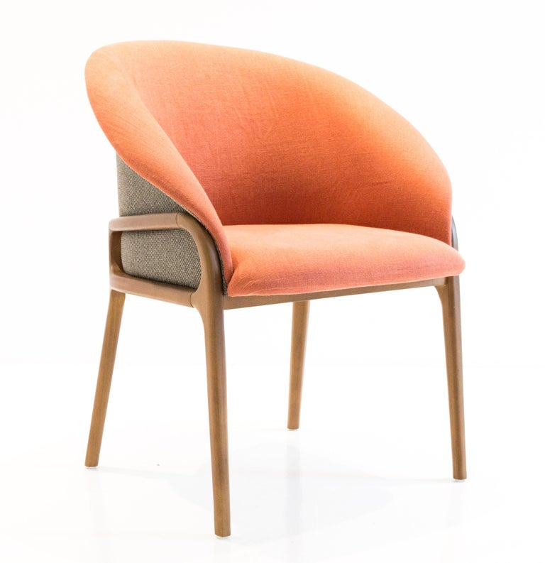 Modern Organic Chair in Solid Wood, Upholstered Flexible Seating For Sale 4