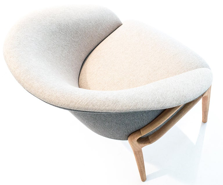 Modern Organic Chair in Solid Wood, Upholstered Flexible Seating For Sale 5