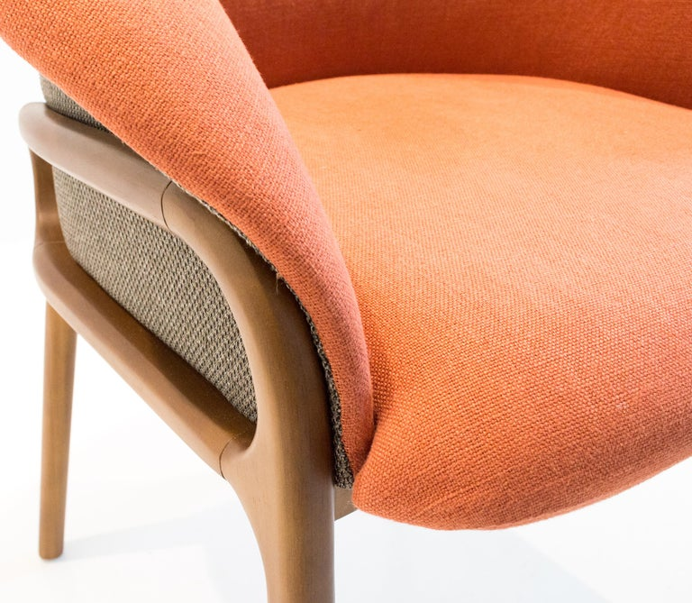 Brazilian Modern Organic Chair in Solid Wood, Upholstered Flexible Seating For Sale
