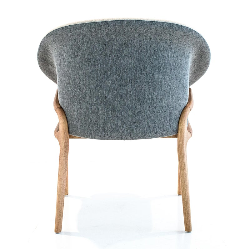 Contemporary Modern Organic Chair in Solid Wood, Upholstered Flexible Seating For Sale