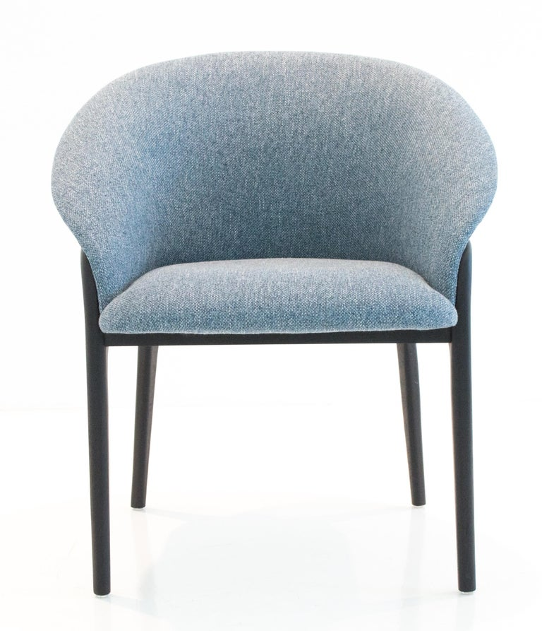 Leather Modern Organic Chair in Solid Wood, Upholstered Flexible Seating For Sale
