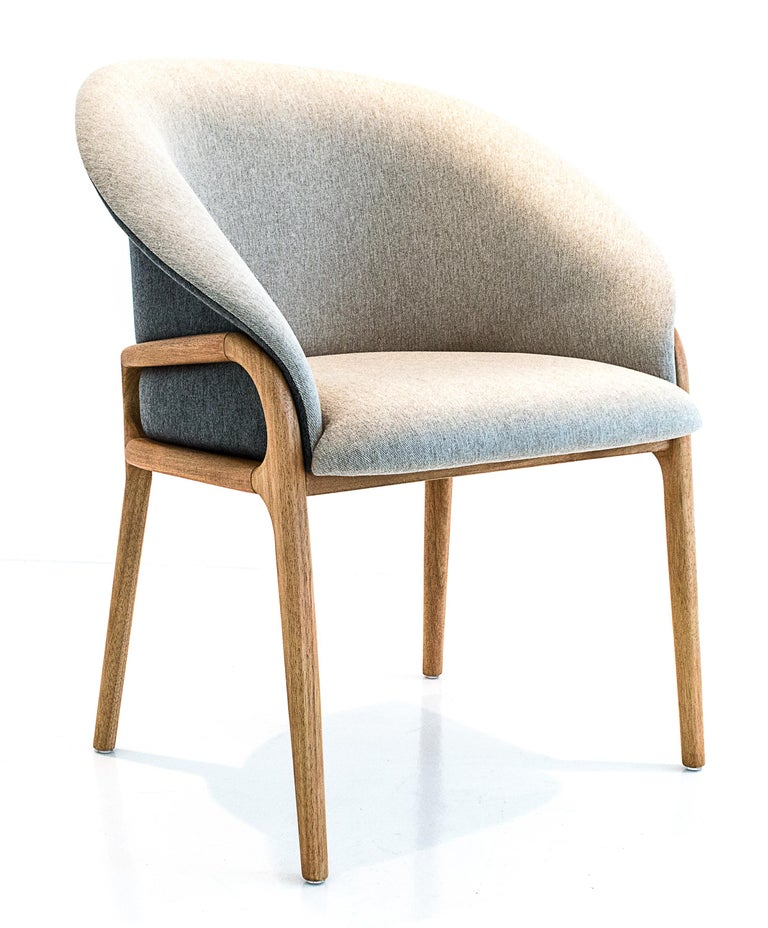 Modern Organic Chair in Solid Wood, Upholstered Flexible Seating For Sale 1