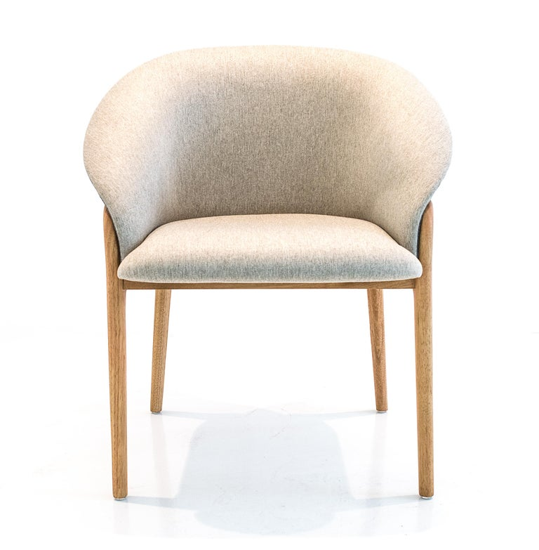 Modern Organic Chair in Solid Wood, Upholstered Flexible Seating For Sale 2