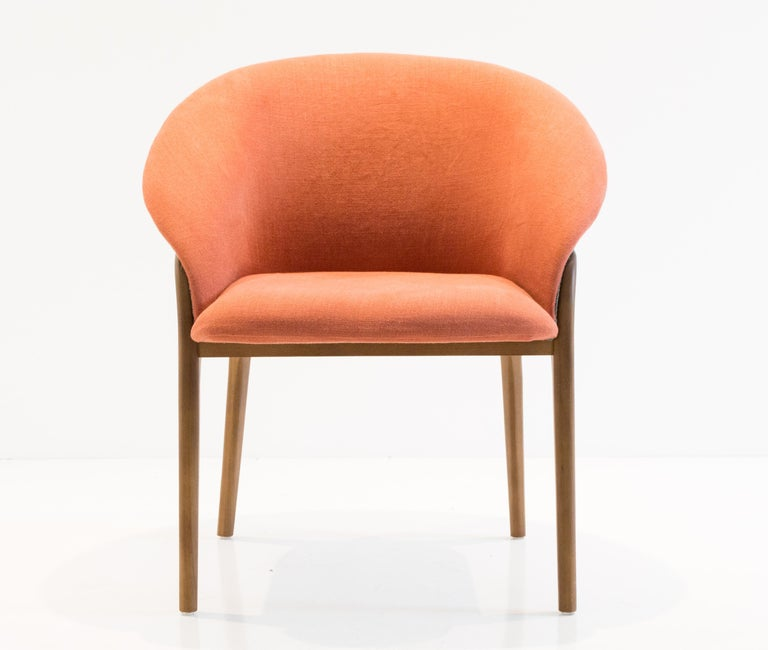Modern Organic Chair in Solid Wood, Upholstered Flexible Seating For Sale 3