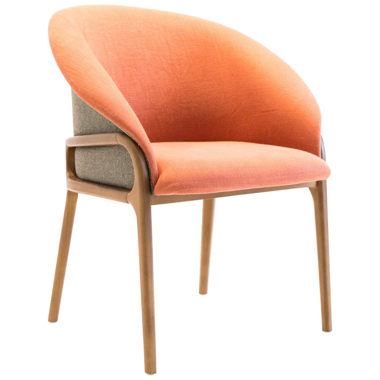 Modern Organic Chair in Solid Wood, Upholstered Flexible Seating For Sale